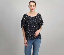 Women Flutter-Sleeve Printed Blouse, Rich Black