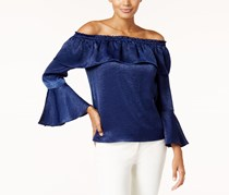 Thalia Sodi Women's Off-The-Shoulder Bell-Sleeve Top, Navy
