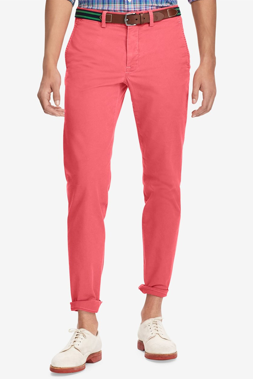 Men's Stretch Twill Bedford Flat Pants, Nantucket Red