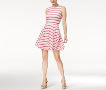 Maison Jules Striped Lace Fit Flare Dress, White/Pink