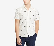 Mens Big Tall Classic-Fit Casual Shirt, White Combo
