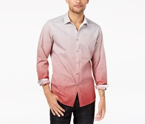 Inc International Concepts Men's Ombre Geometric Pattern Shirt, Red Combo
