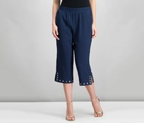 Jm Collection Women's Studded-Hem Pull-on Cropped Pants, Intrepid Blue