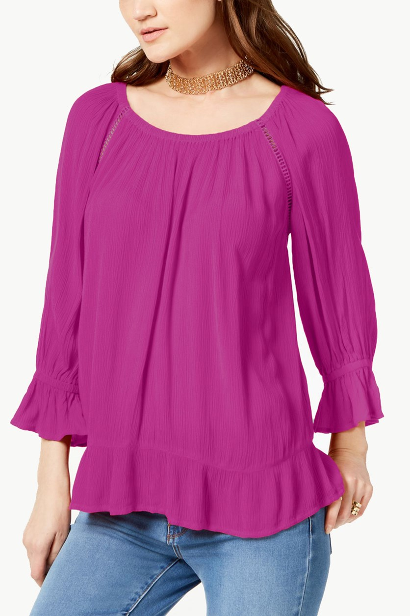 International Concepts Raglan-Sleeve Crepe Peasant Top, Magenta Sky