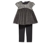 First Impressions Black Brocade Tulle Tunic & Leggings Set, Black
