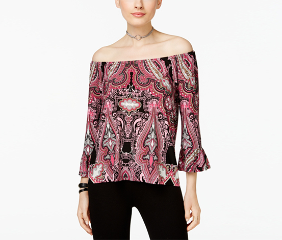 Inc International Concepts Women's Petite Printed Off-The-Shoulder Ruffle Top, Pink/Black/White