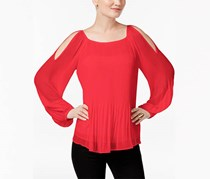 Inc International Concepts Pleated Cold-Shoulder Top, Hibiscus Bloom