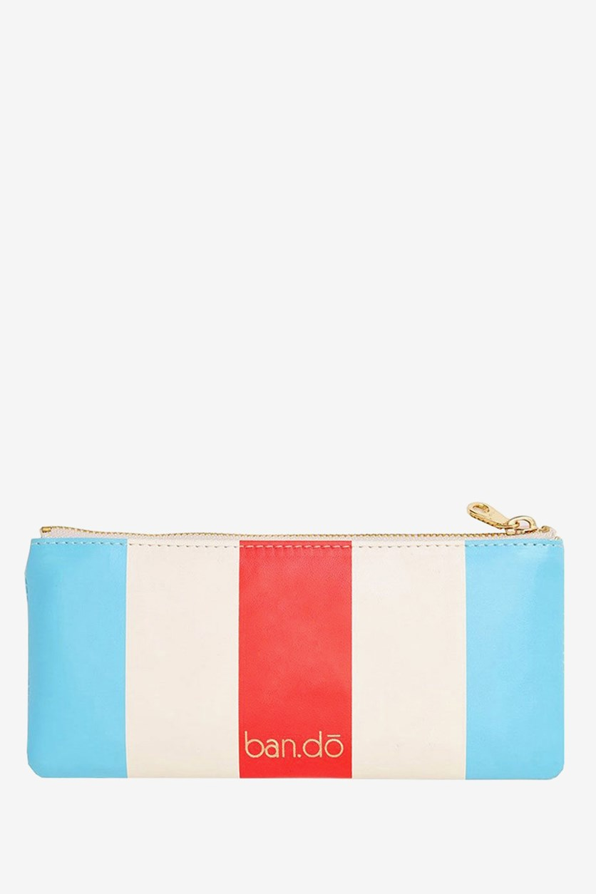 Get It Together Pencil Pouch, National Stripe, Turquoise/Red/Cream