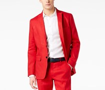 INC International Concepts Mens Stretch Linen Blazer, Licorice Red
