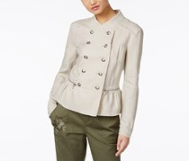 INC Linen Peplum Military Jacket, Beige