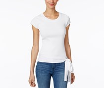 INC Women's Petite Tie-Hem Sweater Top, White