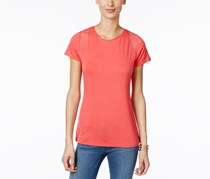 Women Mesh-Inset T-Shirt, Polished Coral