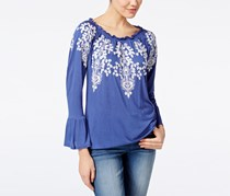 Inc International Concepts Embroidered Peasant Top, Sail Blue