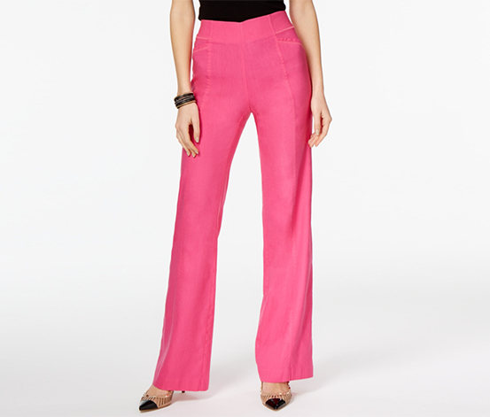 INC Women's Linen-Blend Wide-Leg Pants, Pink