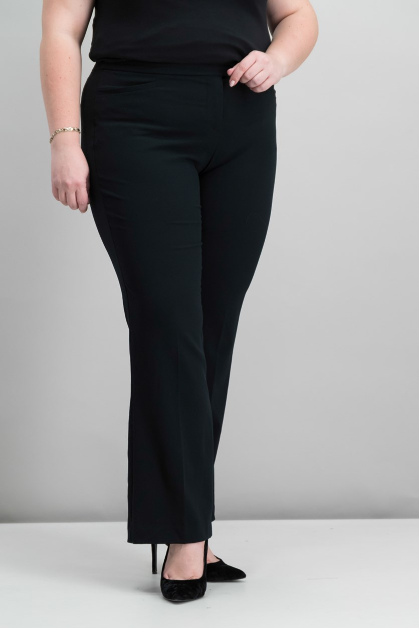 Petite Extend-Tab Curvy-Fit Pants, Deep Black