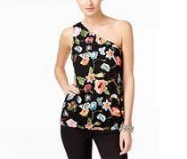 INC Women's Textured Floral Print Casual Top, Black