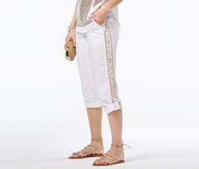 International Concepts Linen Embroidered Cargo Pants, Washed White