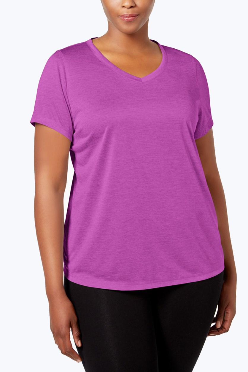 Plus Size Semi-Fitted Active Top, Purple Cactus