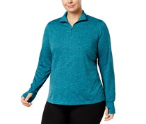 Ideology Plus Size Essential Quarter-Zip Top, Neo Teal