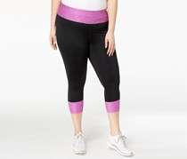 Ideology Plus Size Colorblocked Cropped Leggings, Purple Cactus