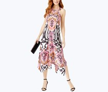 INC Printed Handkerchief-Hem Midi Dress, Decorative Zebra