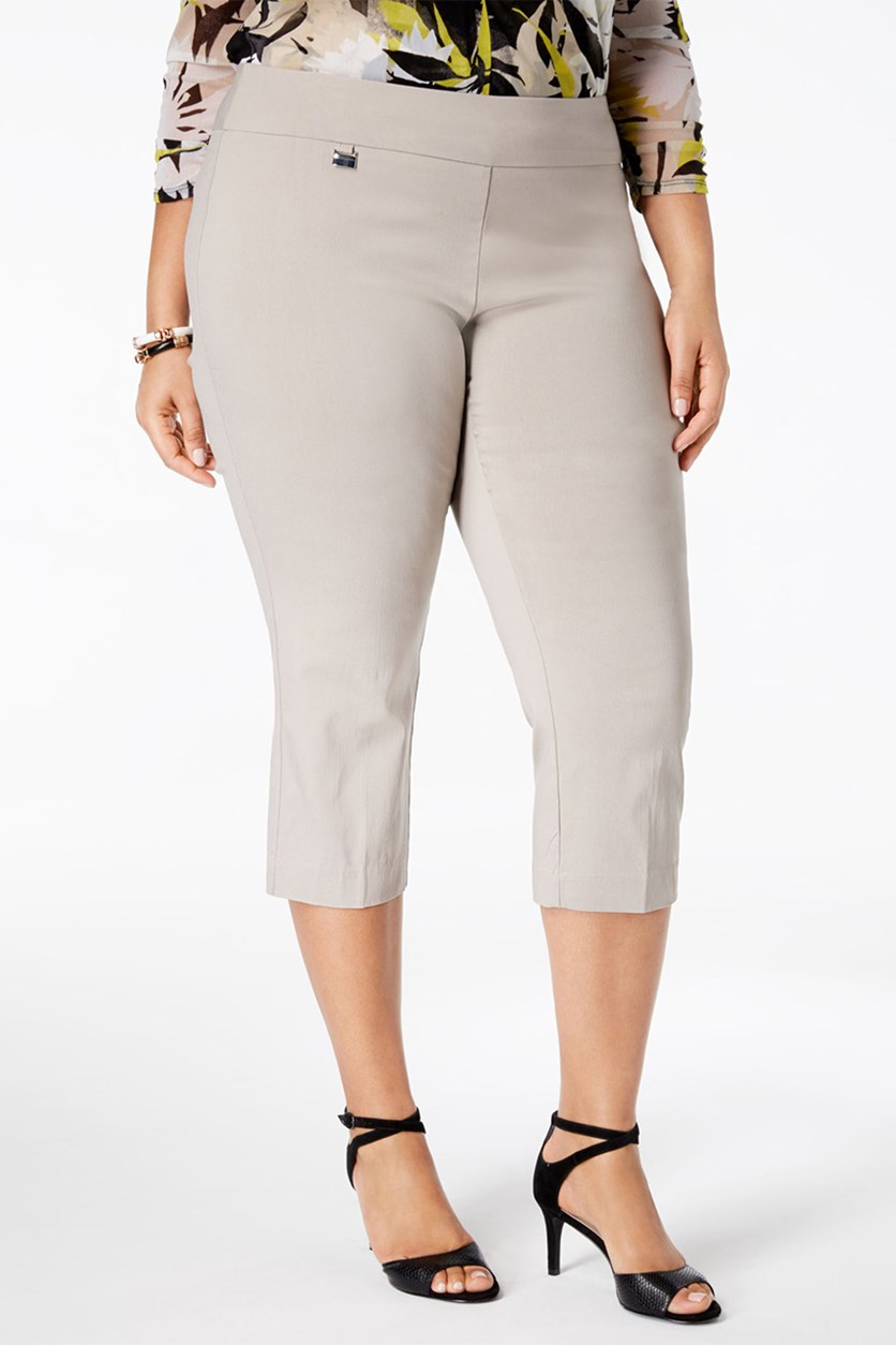 Women's Plus Size Petite Pull-On Capri Pants, Summer Straw