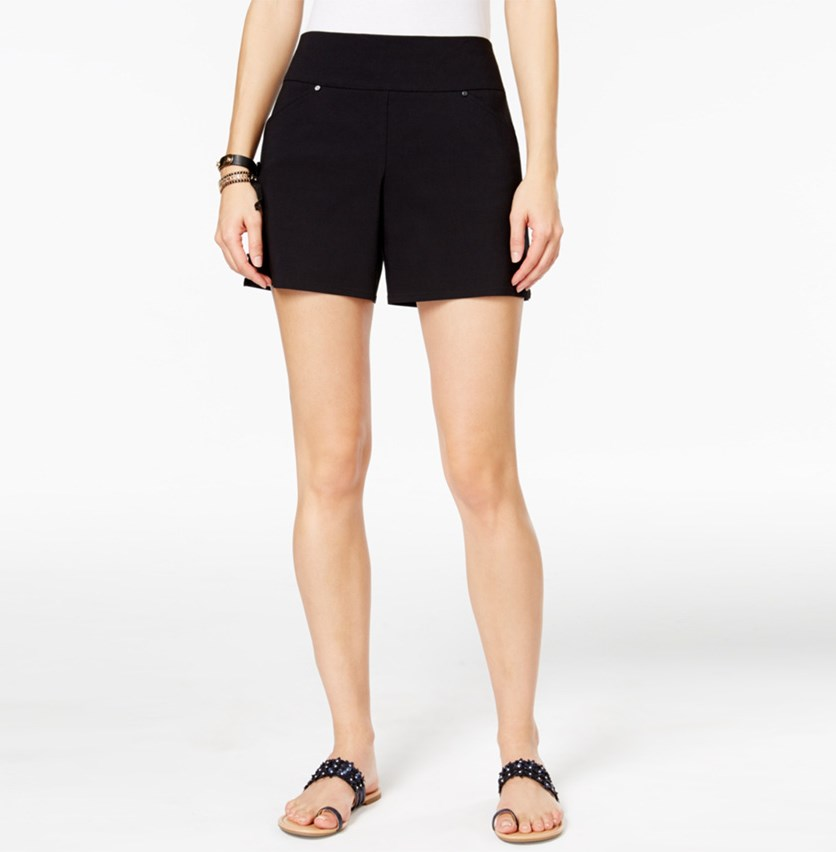 International Concepts Curvy Pull-On Shorts, Deep Black