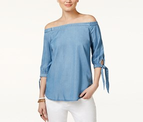 Inc International Concepts Women's Off-The-Shoulder Chambray Top, Blue