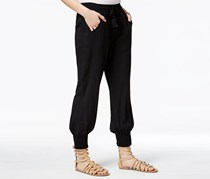 American Rag Women's Smocked Crochet-Trim Soft Pants, Black