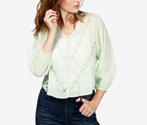 Lucky Brand Cotton Eyelet Peasant Blouse, Mint