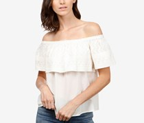 Lucky Brand Cotton Embroidered Off-The-Shoulder Top, Marshmallow
