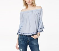 Cotton Off-The-Shoulder Top, Blue Stripe