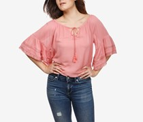 Lucky Brand Lace-Trim Peasant Top, Rose