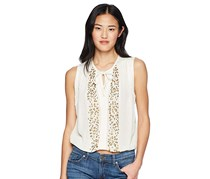 Lucky Brand Embellished Peasant Top, Marshmallow