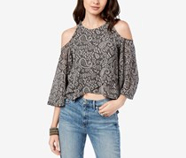Lucky Brand Women's High-Low Cold-Shoulder Top, Grey Combo