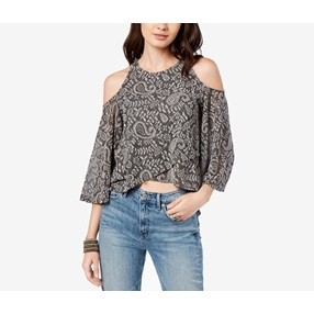 84ae187fe1b8a Lucky Brand Women s High-Low Cold-Shoulder Top