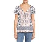 Lucky Brand Printed High-Low T-Shirt, White/Blue