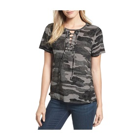 7ccd1ce021184 Lucky Brand Camouflage-Print Lace-Up T-Shirt
