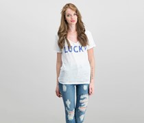 Lucky Brand Tie-Back Logo T-Shirt, Lucky White