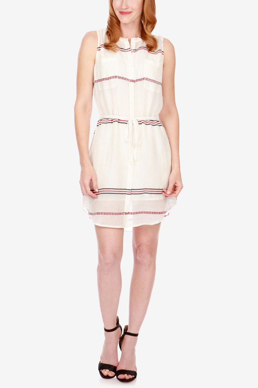 Striped Shirtdress, Eggshell