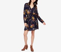 Lucky Brand Printed Drop-Waist Dress, Navy