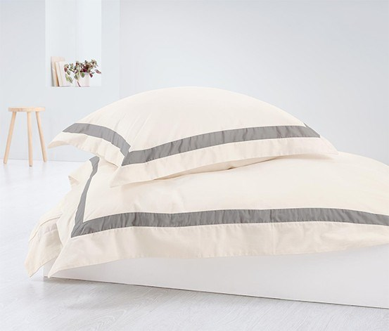 Satin Duvet Set 140 x 200 cm, Cream