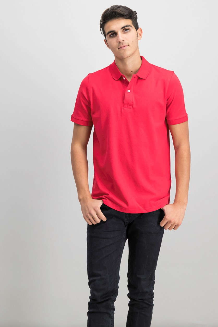Mens Flex Polo Shirt, Red
