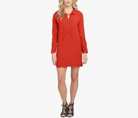 1.state Women's Lace-Up Shirt Dress, Red