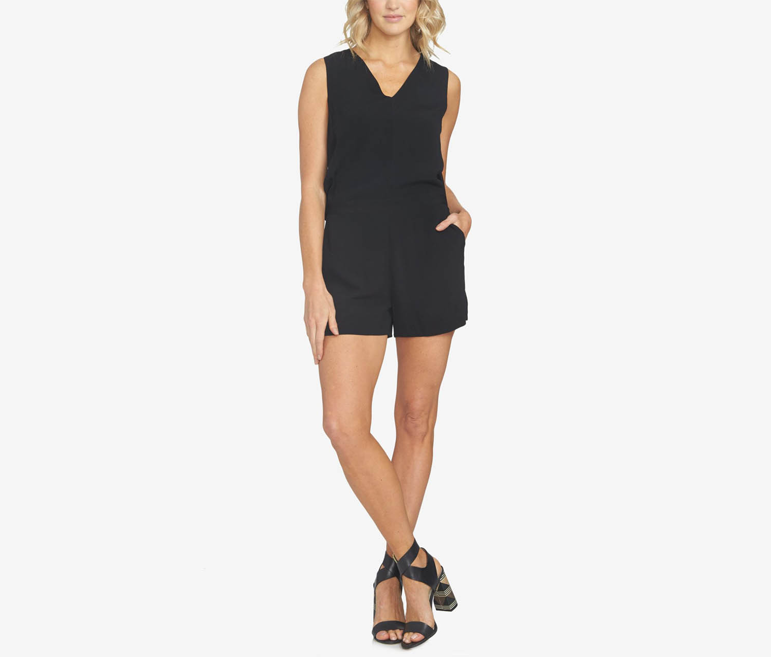 1.State Women's Sleeveless V-Neck Romper, Black