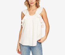 1.STATE Women Cotton Ruffled Top, Antique White