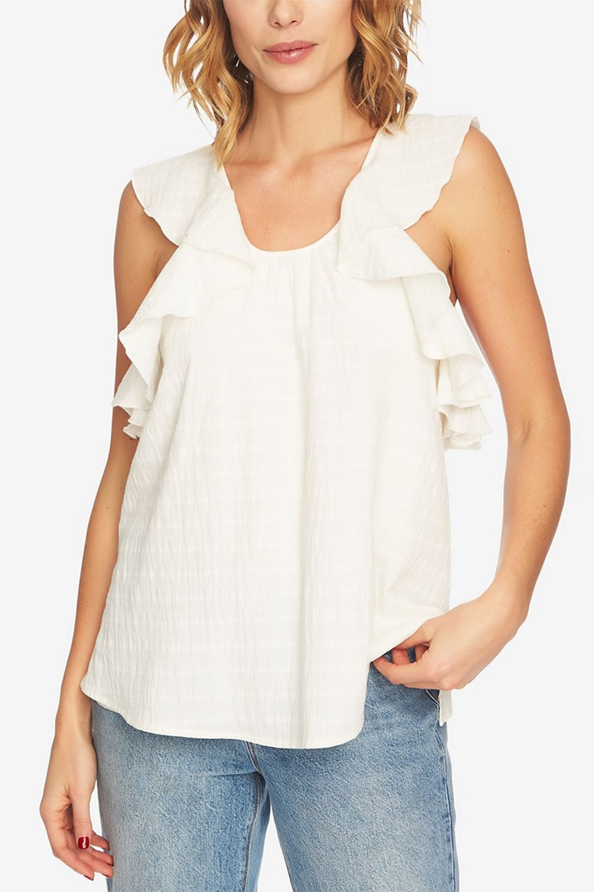 Women Cotton Ruffled Top, Antique White