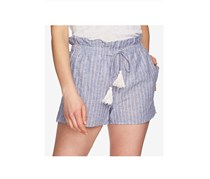 1.STATE Women's Striped Paperbag Shorts, Blue