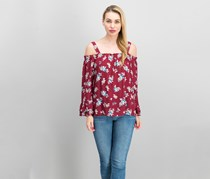 Sanctuary Cassie Off-The-Shoulder Peasant Top, Maroon Red