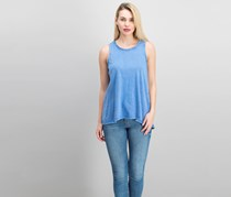 Olive & Oak Cole Acid Wash Split Back Tank Top, Blue